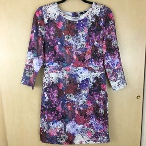 H&M Floral Watercolor Fitted Dress Size US 10